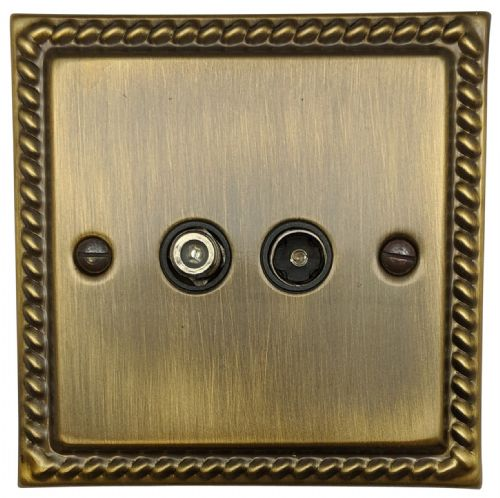 G&H MAB38B Monarch Roped Antique Bronze 1 Gang TV Coax & Satellite Socket Point